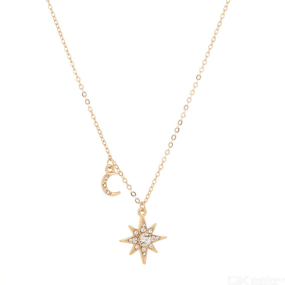 European Style Fashion Rhinestone-plated Necklace Simple Stars Moons Clavicle Pendant Necklace For Girls