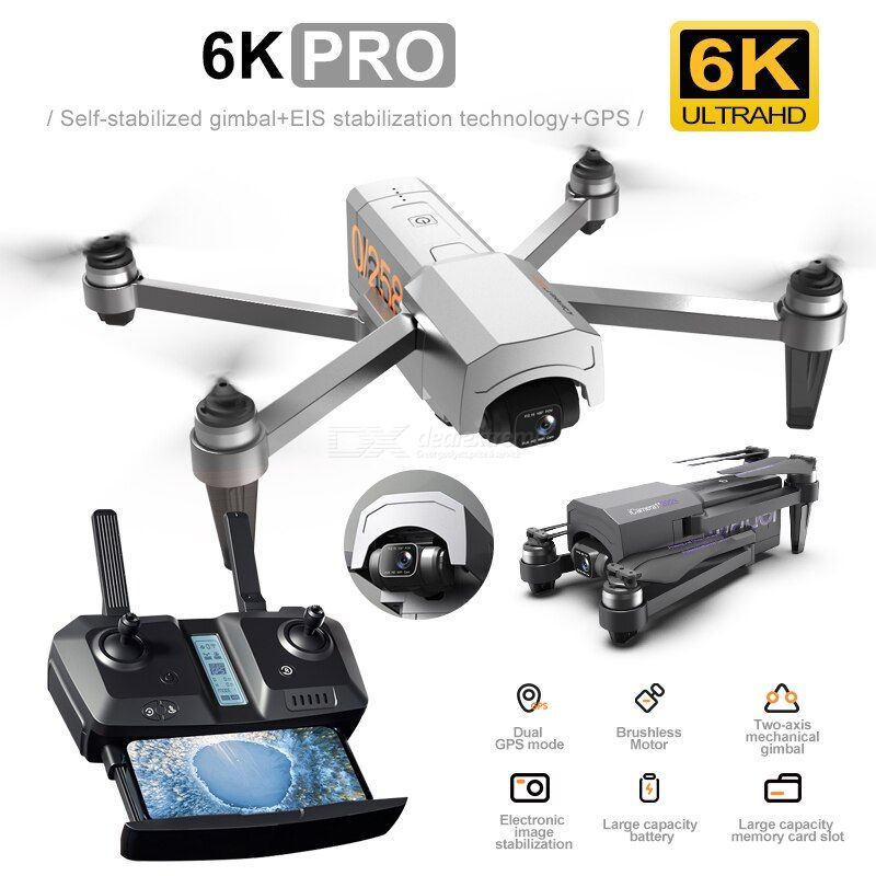 HR New iCamera 1 Drone 6K HD GPS Drone Two Axis Brushless Mechanical Self Stabilization Gimbal Aerial Photography Drone