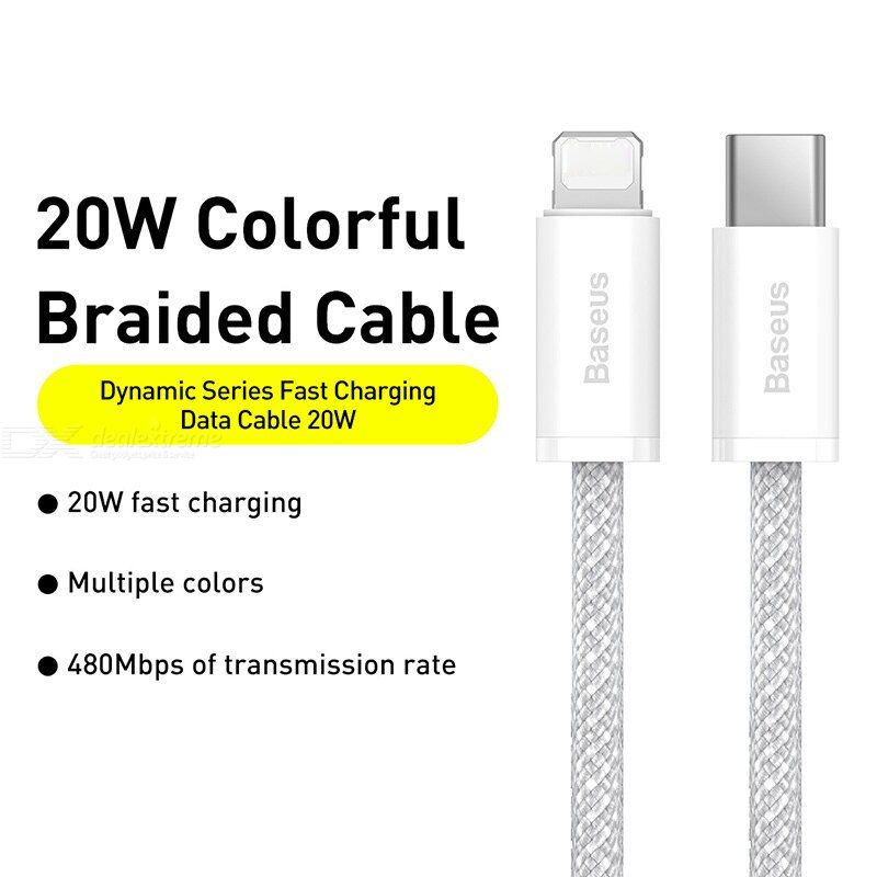 Baseus Type-C to iP 20W 1m Smart Series Fast Charging Data Cable High-density Braided Power Data Cable