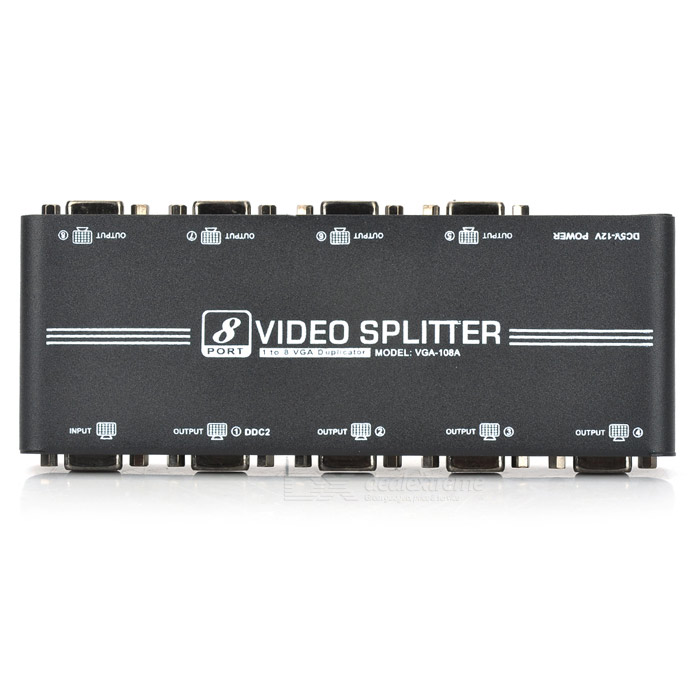 Compact 350MHz 1-In 8-Out VGA Video Splitter (1920x1440 Max)