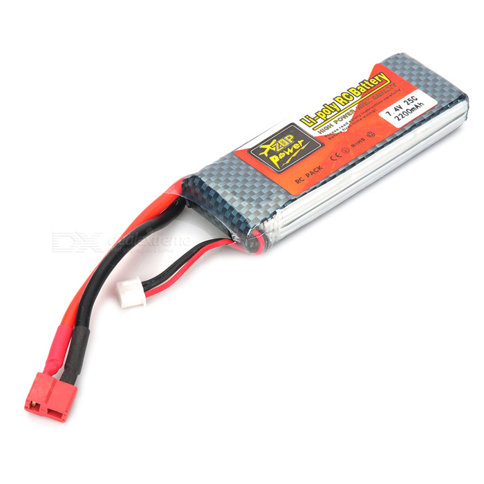 Replacement 7.4V 2200mAh Li-Po Battery Pack for R/C Helicopter - Red