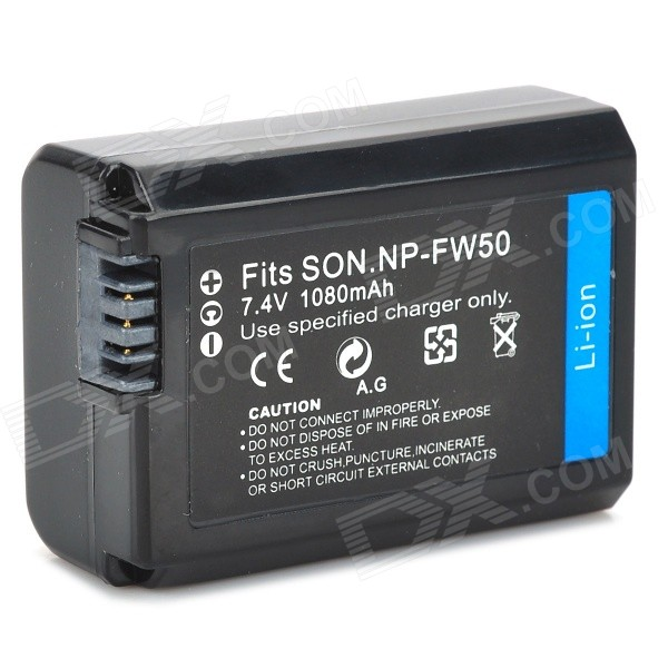 NPFW50 Battery for Sony NEX-3C NEX-3D NEX-5 NEX-5A NEX-5DB - Black