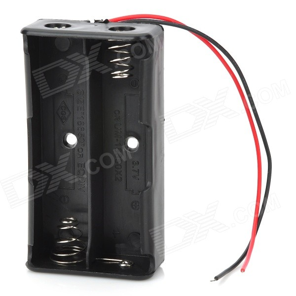 Buy 7.4V 2*18650 Battery Holder Case Box w/ Leads - Black with Litecoins with Free Shipping on Gipsybee.com