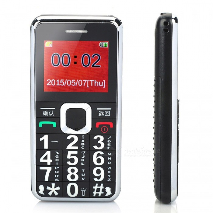 "A555 1.8"" Dualband GSM Cell Phone w/ Torch, FM, SOS for Senior - Black"