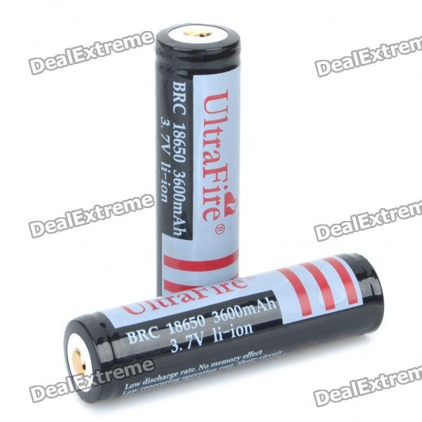 "Rechargeable 3.7V ""3600mAh"" 18650 Battery - Actual 2500mAh (2PCS)"