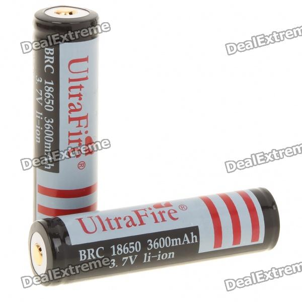 UltraFire 18650 3.7V/3600mAh Rechargeable Lithium Battery - Black +Grey (2pcs/set)