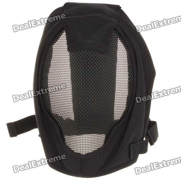 Tactical Metal Mesh Protective Full Face Mask - Black