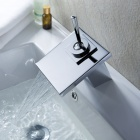Modern Brass Waterfall Bathroom Faucet (Silver)