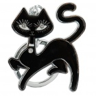 Black Cat Style Keychain - Black + Silver