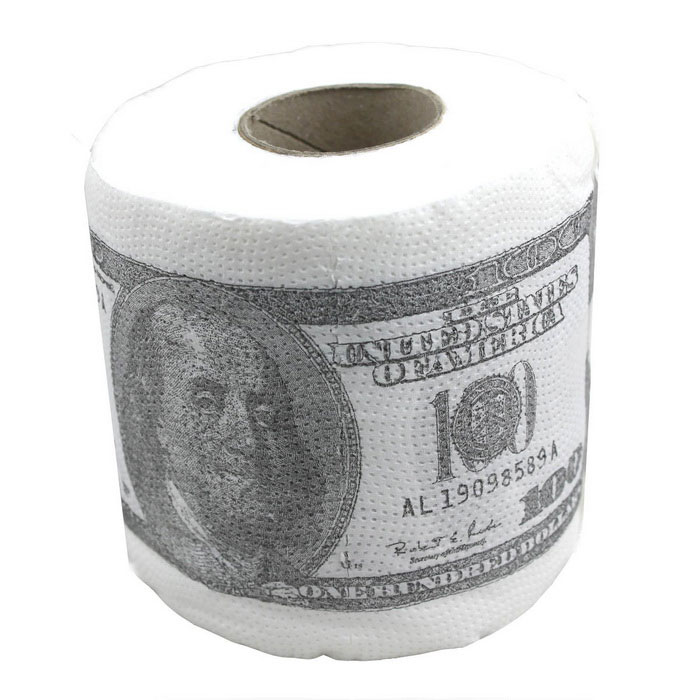Buy Creative 100 Dollar Bill Pattern Roll Tissue - White + Deep green with Litecoins with Free Shipping on Gipsybee.com