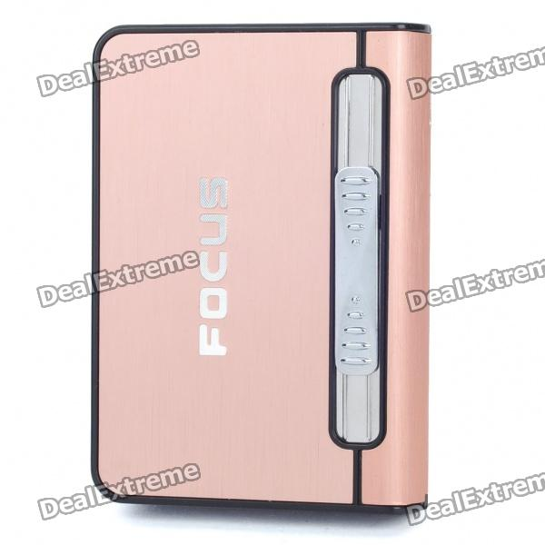 Focus Copper Wiredrawing Cigarette Case Dispenser with Butane Jet Torch Lighter (Holds 12)