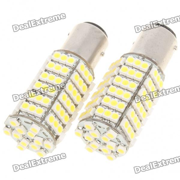 1157 Ba15d 7.5W 6500K 120-SMD LED White Light Bulbs for Car (Pair)