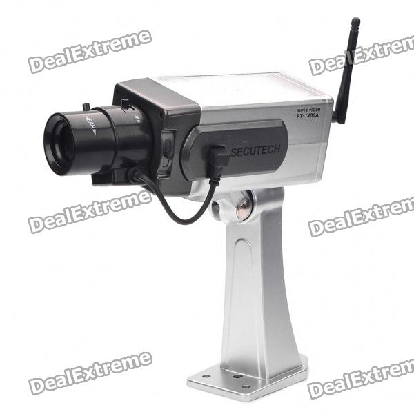 Realistic Dummy Surveillance Security Camera w/ Blinking Red LED - Silver (3 x AA)