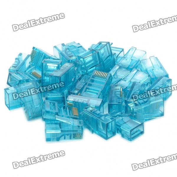 RJ45 8P8C Network Modular Plug Connector - Blue (30 Piece Pack)