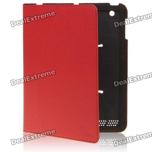 Protective PU Leather Full Case for Ipad 2 - Red