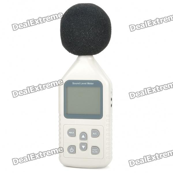 GM1358 Portable 2.2 LCD Digital Sound Level Meter (1 x 9V)Testers &amp; Detectors<br>- Color: White- Plastic case material- 2.2 LCD display- Measuring level: 30~130dBA, 35~130dBC- Accuracy: +/- 1.5dB- 5 digits display- Resolution: 0.1dB- Frequency range: 31.5Hz to 8.5KHz- Level range: 30-130 40-90 50-100 60-110 80-130- Frequency weighting: A (imitating human ear) / B (machinery noise)- Time weight: Fast / Slow- Sampling rate: 2 times per second- 1/2 inch Electret Condenser Microphone- Easy operation- Powered by 1 x 6F22 9V battery (not included), or can use external DC 9V power supply- Comes with English user manual<br>