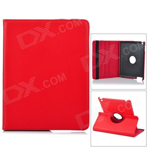 Protective 360 Degree Rotation Holder PU Leather Case for Ipad 2 - Red