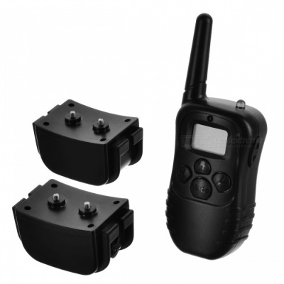 """0.9"""" LCD USB Rechargeable 1-to-2 Remote Pet Training Collar - Black"""