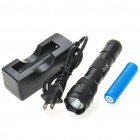 UltraFire WF-502B R2-WC 1-Mode White LED Flashlight w/ Battery Charger & Clip (1 x 18650 / 2 x 123A)