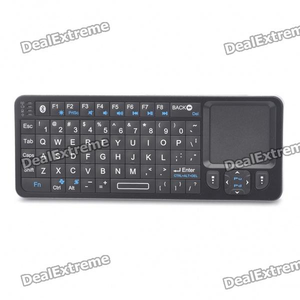 Rii Mini i6 2-in-1 72-Key Bluetooth Keyboard w/ Trackpad + Universal IR Remote Controller - Black