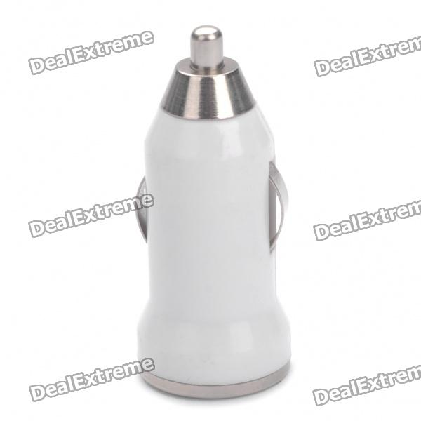 USB Car Cigarette Lighter Car Charger - White (12-24V)