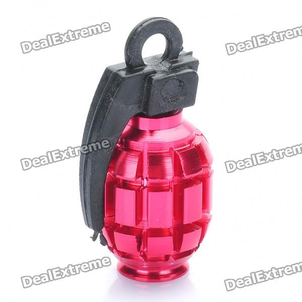 Cool Grenade Shaped Bicycle Bike Tyre Tire Valve Dust Cap Cover - Red (2 Piece Pack)