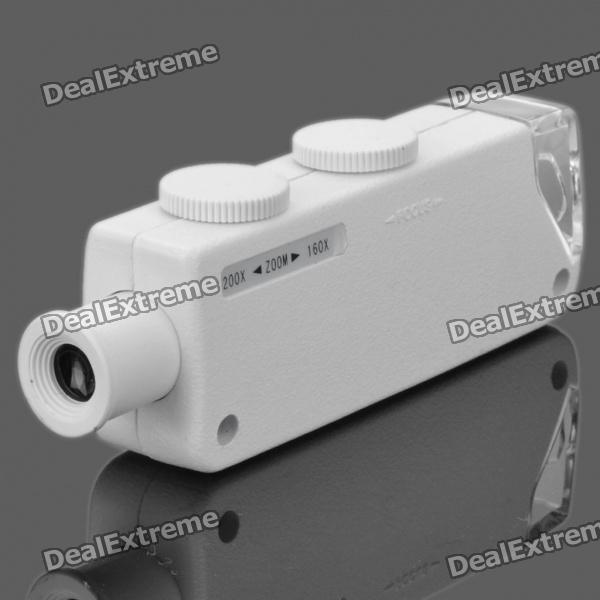 160X~200X Zoom Microscope with White 1-LED - White (3xLR1130)