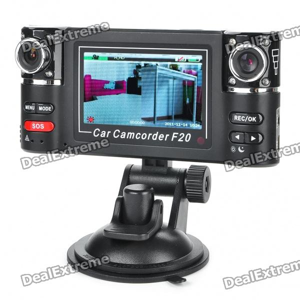 720P Dual Lens 2-CH Vehicle Car Digital DVR Camcorder