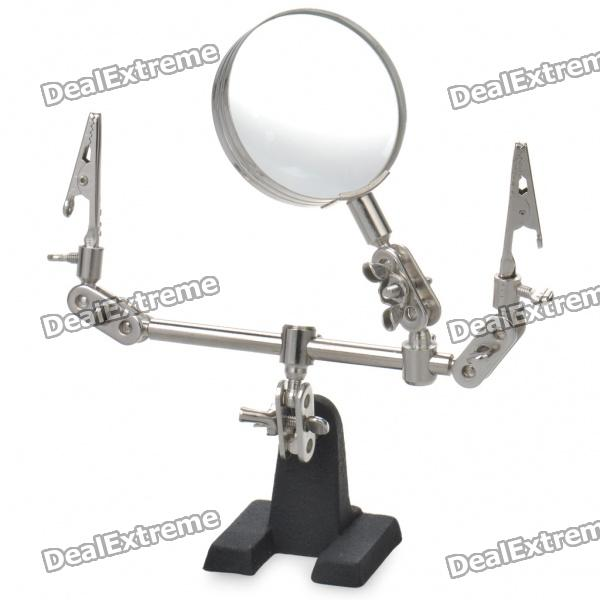 Buy Helping Third Hand Soldering Stand w/ 5X Magnifying Glass with Litecoins with Free Shipping on Gipsybee.com
