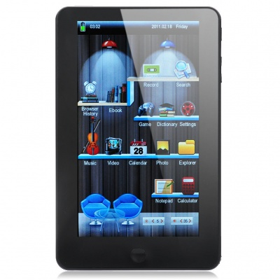 """7.0"""" Resistive Touch Screen E-Book Reader Multimedia Player w/ AV-Out / TF Slot - Black (4GB)"""