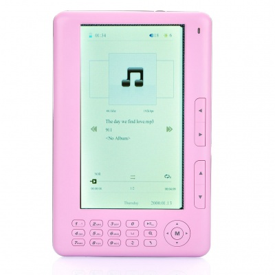 """7.0"""" LCD E-Book Reader Multimedia Player w/ FM / TF Slot - Pink (4GB)"""