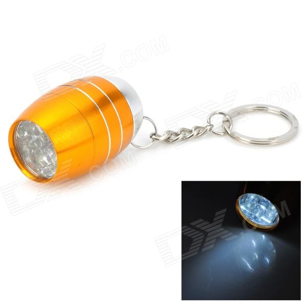Water Resistant Mini 6-LED White Light Camping Flashlight Keychain - Orange + Silver (2 x CR2032)
