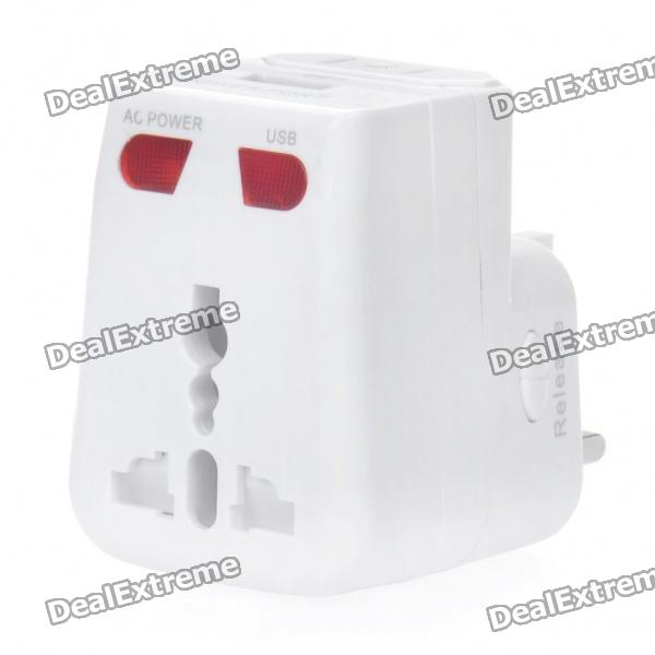 Universal World Travel Power Adapter w/ USB Power Port / EU / US / UK Plugs - White (AC 100~250V)