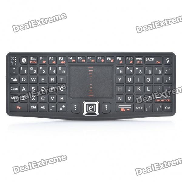 RT-MWK03BT Bluetooth 3.0 Wireless 79-Key Keyboard w/ Mouse TouchpadWireless Keyboards<br>Model:Form  ColorBlackWireless or WiredBluetoothBluetooth VersionBluetooth V3.0Tracking MethodTouch PadPowered ByUSBSupports SystemLinuxPacking List<br>