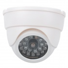 Realistic Dummy Surveillance Security Camera w/ Red LED - White