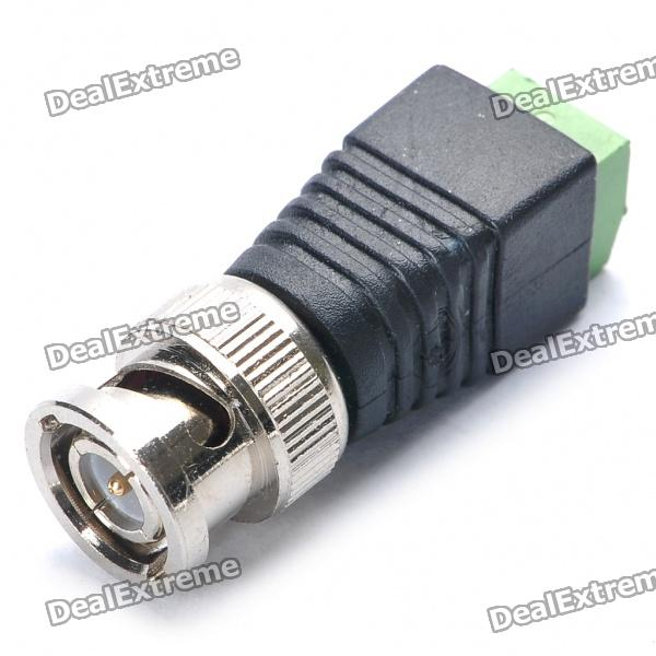 BNC002 CCTV Video Camera BNC Plug Connector - Black + Silver+ Green