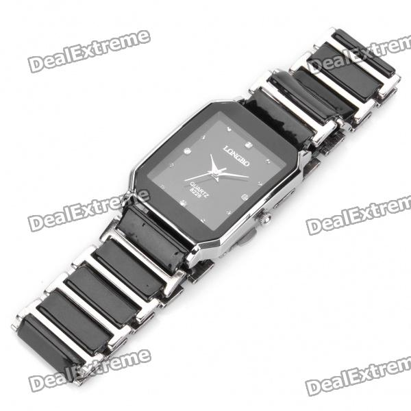 Ceramic Wrist Quartz Watch for Man - Black + Silver (1 x 377)Quartz Watches<br>Form  ColorBlackGenderMenDisplayAnalogMovementQuartzWater ResistantFor daily wear. Suitable for everyday use. Wearable while water is being splashed but not under any pressure.Packing List<br>