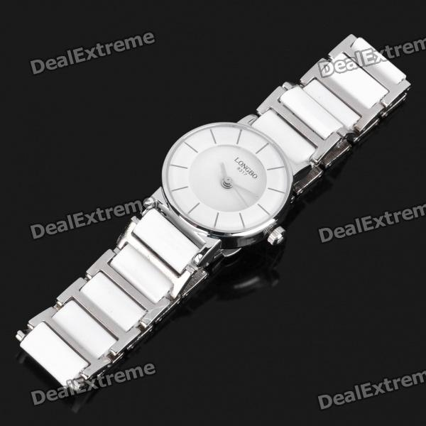 Ceramic Wrist Quartz Watch for Woman - White + Silver (1 x 377)