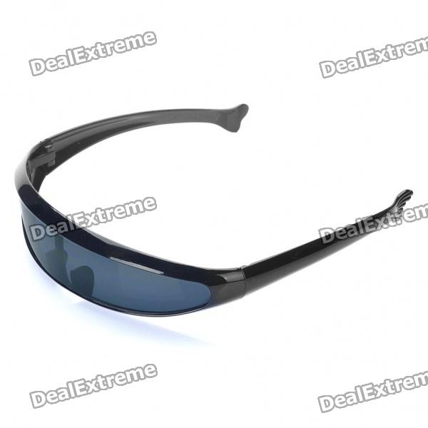 Buy Novelty Funny Single Lens Sunglasses - Black with Litecoins with Free Shipping on Gipsybee.com