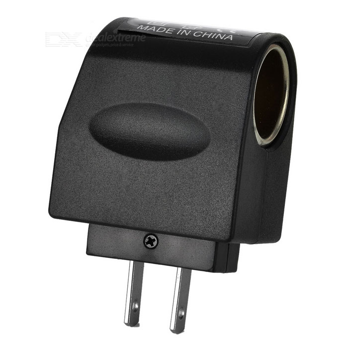 AC to DC 12V Car Power Adapter - Black (90V~240V / 2-Flat-Pin Plug)