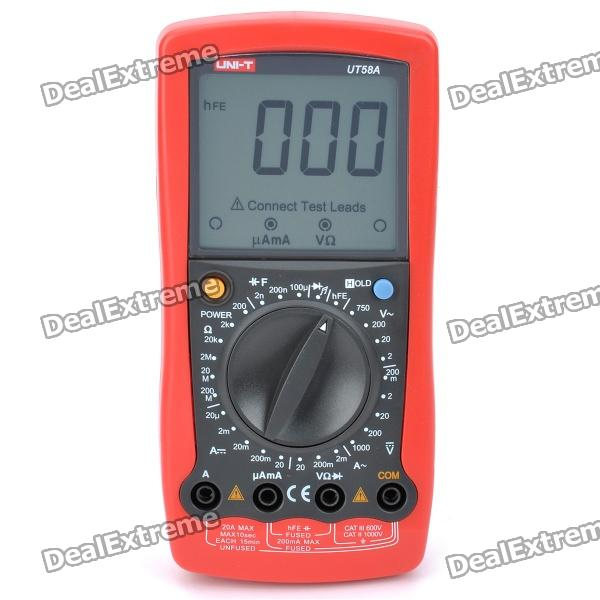 "UNI-T UT58A 3.0"" LCD Digital Multimeter - Red + Iron Gray (1 x 9V / 6F22)"