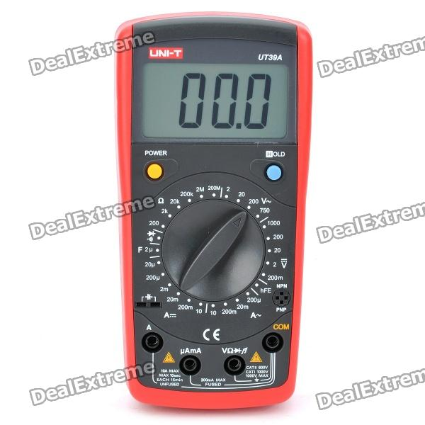 "UNI-T UT39A 2.5"" LCD Digital Multimeter - Red + Grey (1 x 9V 6F22)"