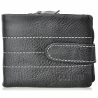 Cowhide-Leather-Horizontal-Style-2-Fold-Wallet-Purse-Black