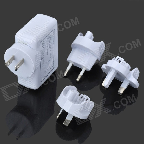USB Travel Charger w/ EU / US / UK / AU Plug Adapters - White