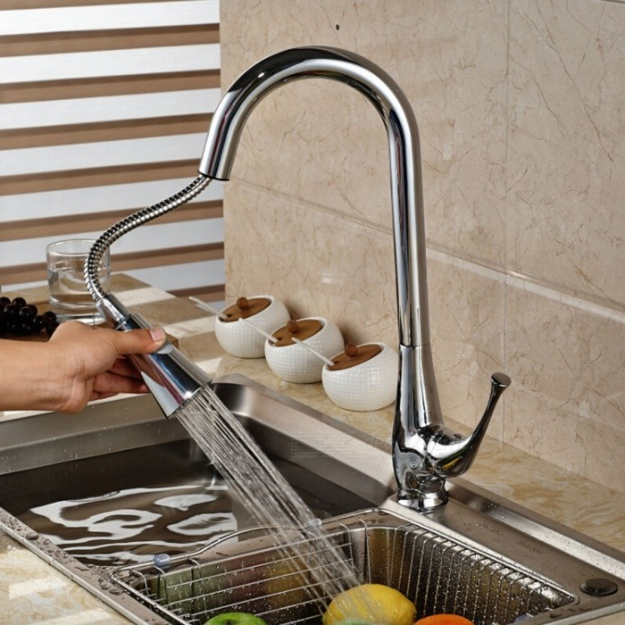 Modern-Chromed-Copper-Pull-Out-Sink-Faucet-Water-Tap-Silver
