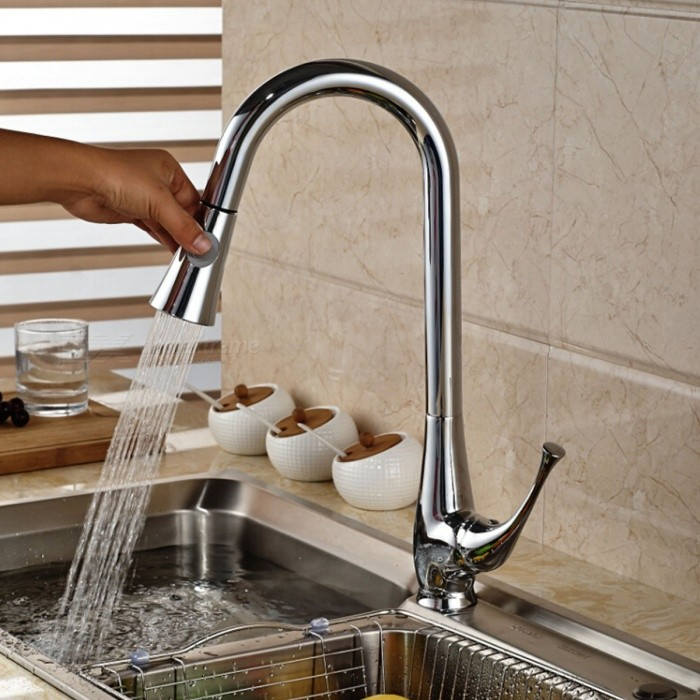 Black Kitchen Sinks South Africa: Modern Chromed Copper Pull-Out Sink Faucet Water Tap