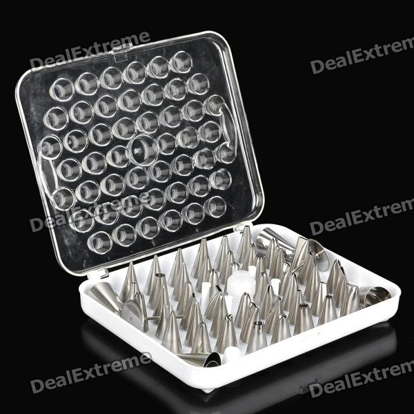 Stainless Steel Cake Decorating Tool Sugarcraft Nozzles Pastry Tube Tips (52-Piece Pack)