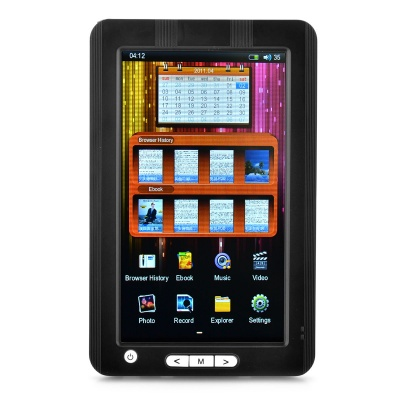 """7.0"""" Resistance Touch Screen E-Book Reader Music/Video Media Player w/TF - White + Black (4GB)"""
