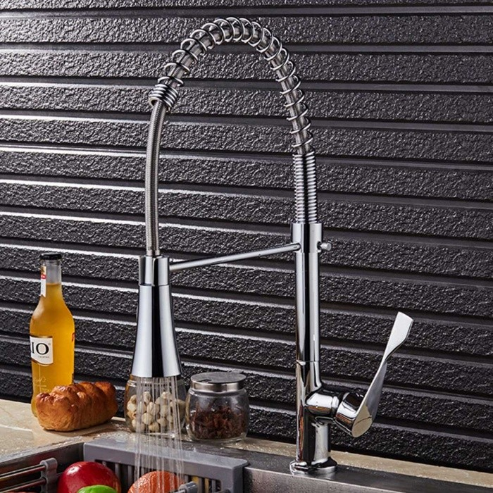 Modern-Chromed-Copper-Pull-Out-Sink-Faucet-Water-Tap