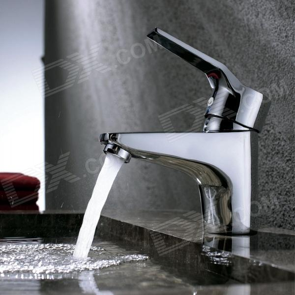 Chrome-Finish-Copper-Single-Handle-Kitchen-Faucet-Water-Tap